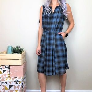 Halogen Blue Plaid Dress W/Pockets